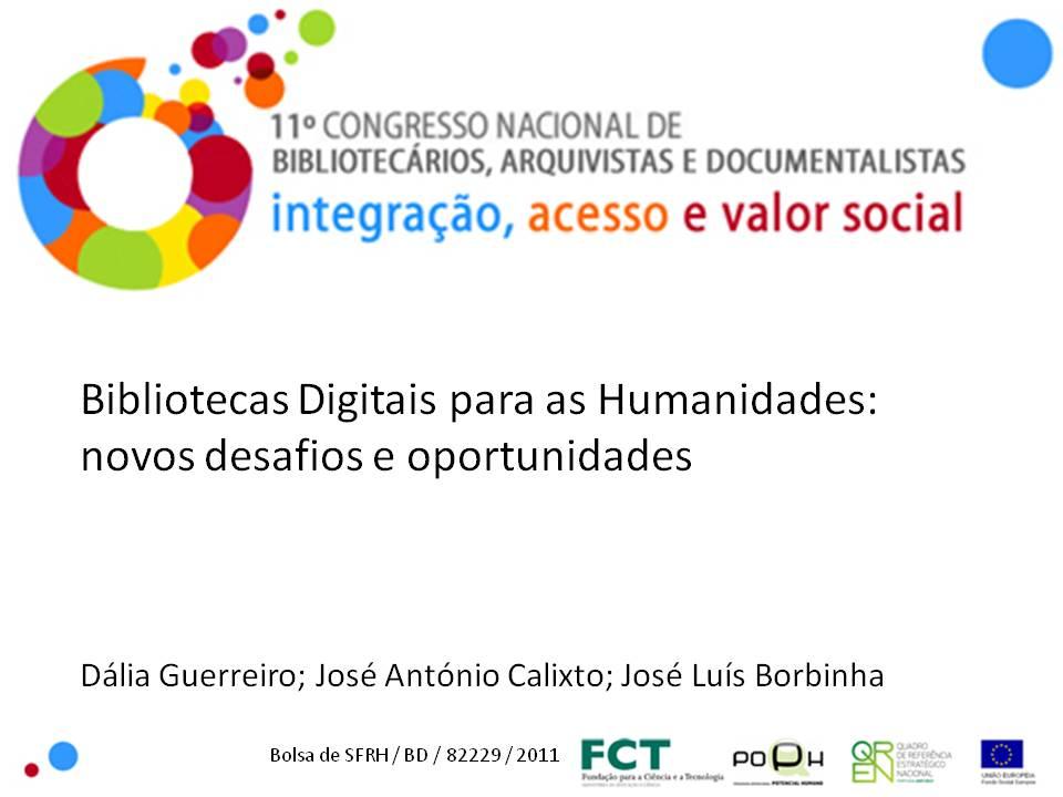 Bibliotecas Digitais para as Humanidades - apresentação