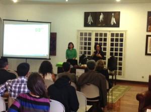 Professoras Maria José Finatto e Filomena Gonçalves.